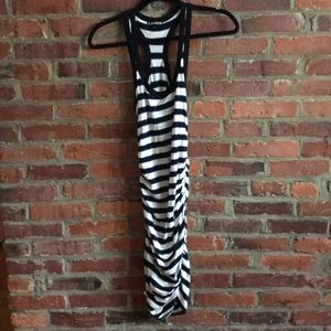 Ruched striped racer back dress by Express